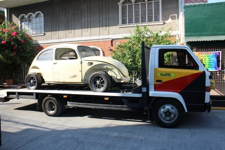The Beetle on the Auto Transporter flatbed truck before leaving Pandacan.
