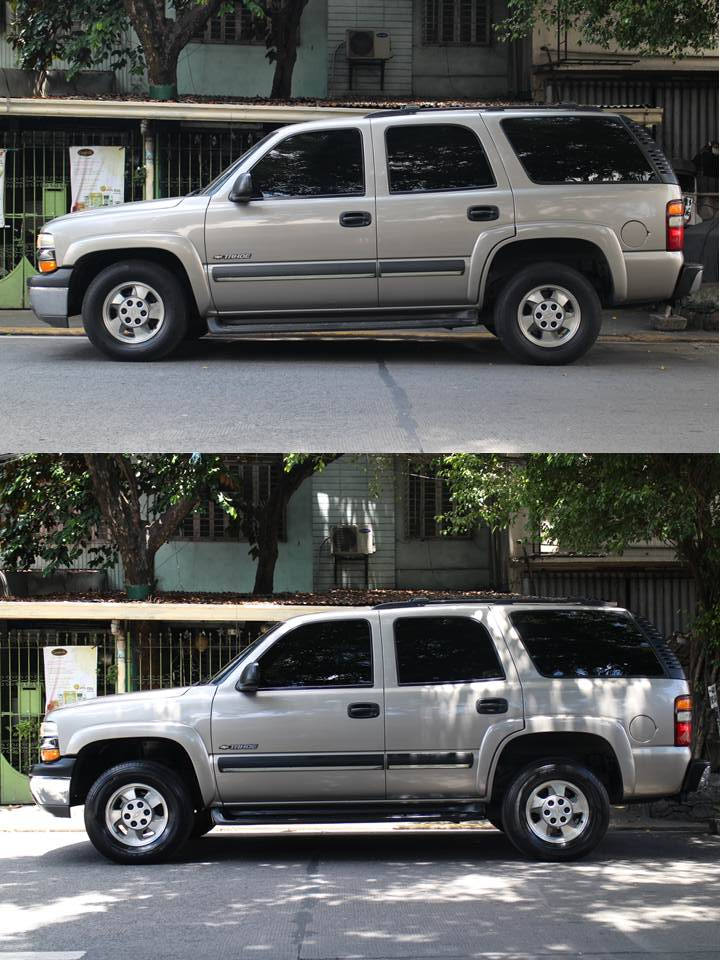 """With the front sag corrected, our Tahoe no longer looks """"tired"""" as this """"Before and After"""" comparison shows."""