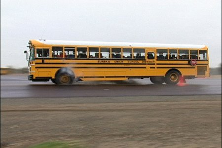 Bus tire blowout training in the US.