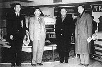 Exhibit of the Prince sedan at the Bridgestone headquarters in March 1952.