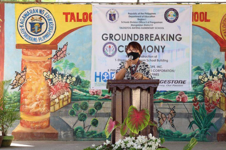 Talogtog-Bateng Elementary School Principal Alma V. Jomero
